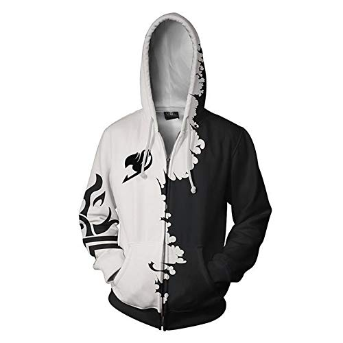 Anime Fairy Tail Natsu Hoodie Zipper Jacket Unisex Coat Cosplay Hooded Costumes Coat,Black,XL