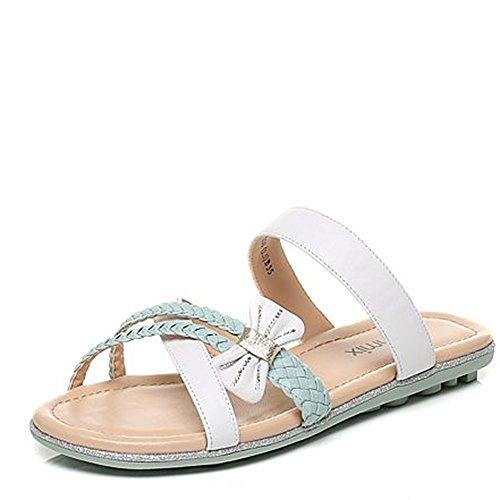 ZHANGRONG-- Pantoufles de mode d'été Pantoufles épaisses de dames Pantoufles simples et décontractées Doux pantoufles d'arc (2 couleurs en option) (taille facultative) ( Couleur : A , taille : 36 ) A