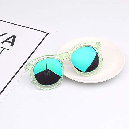 2-9 Jahre alt Kinder Brille Sonnenbrille Jungen und Mädchen Sonnenbrille Korean Anti-UV-Brille Baby-Sonnenbrille Flut schwarzen Rahmen Silber Objektiv Paket 1 [Brille Brillenputztuch] @Transparent Ra