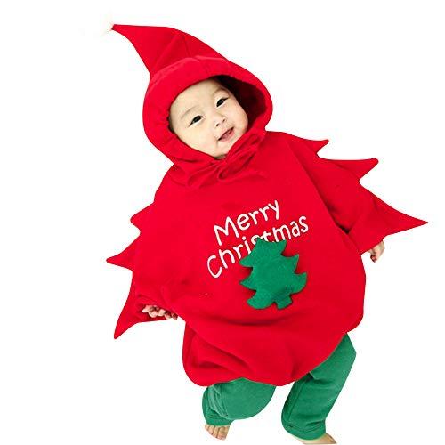 Cuteelf Baby Langarm Weihnachtsbaum Form Cartoon Siamesischer Hase + Beine Zweiteiler Baby Jungen Jungen Hoodie Weihnachtsbaum Overall Leggings Set