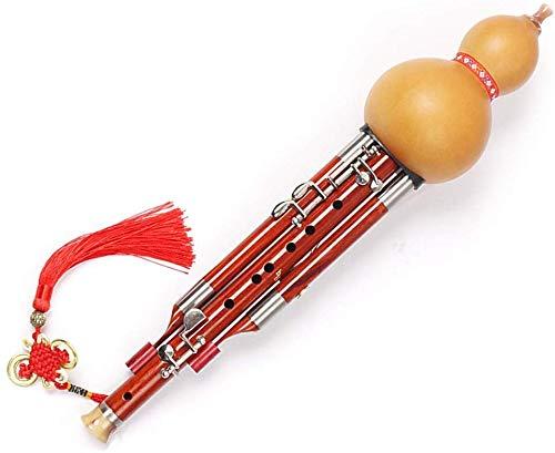 AZWE Cucurbit Flutes Dj Instruments Bambussaxophone Hulusi Redwood Hulusi Professional Performance Hulusi Traditionelles handgemachtes Instrument Hulusi Flöte 4-teiliges Set Blockflöten für Holzblasi