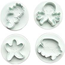 4 moldes para repostería con forma de caballito de mar para hacer galletas de peces o