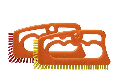 """Fugenial """"Fuginator®"""" Fugenbürste für Badezimmer - Reinigt effektiv Fugenfliesen und entfernt oberflächlichen Schimmel im Bad - 2er Spar Reinigungsset - Rot/Gelb (Urinale Toilette/Bad)"""