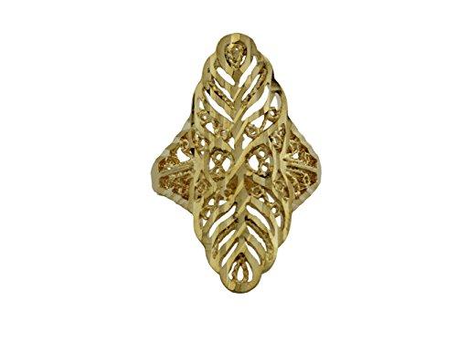 dokreil poliert gelb gold filigran Gravur Antik Blatt Statement Band Ring (Womens Fashion Großhandel Tops)