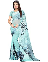 High Glitz Fashion Women's Satin Print Georgette Saree With Blouse Piece