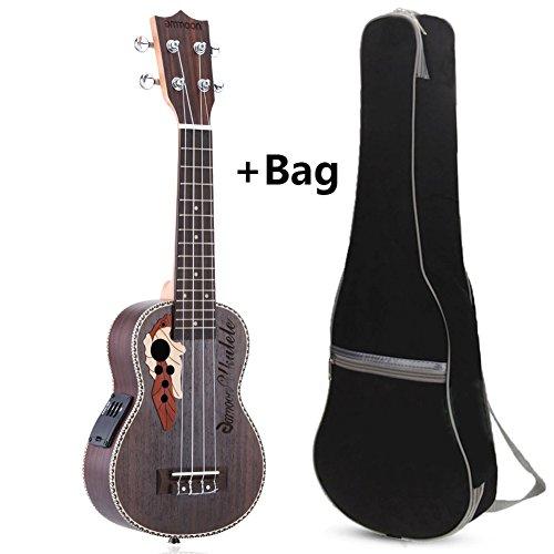 """Favourall Rosenholz Elektro Sopran Ukulele Paket mit Gigbag, 21 \"""" Ukulele 4 Saiten Gitarre Ukulele mit Eingebautem Elektrischen EQ Pickup (ukulele+bag)"""