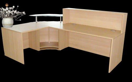 Reception Desk in Oak Curved Glass Unit Aluminium Plinth