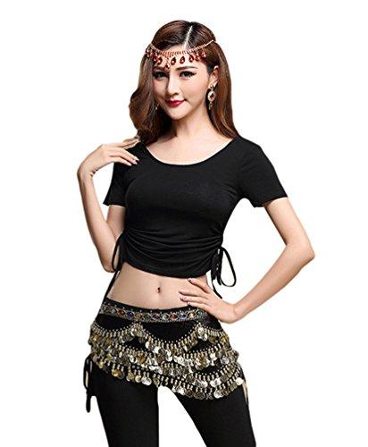 YiJee Damen Bauchtanz Tops Shirt Bandage Belly Dance Kostüm Schwarz M (Kostüm Mieten)