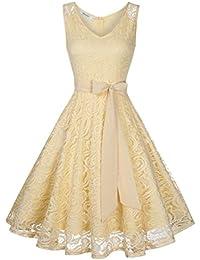 KOJOOIN Damen Kleid Brautjungfernkleid Knielang Spitzenkleid Ärmellos Cocktailkleid(Verpackung MEHRWEG)