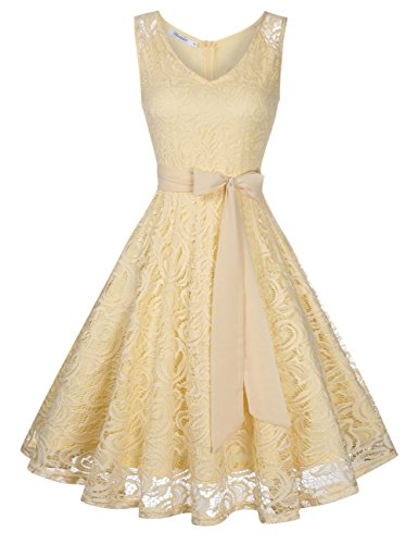 KoJooin Damen Vintage Kleid Brautjungfernkleid Knielang Spitzenkleid Cocktailkleid Beige Apricot...