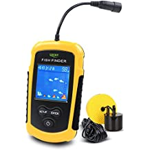 Lucky Buscadores de pescado Alarma 100M / 328ft sensor de sonar portátil de pesca con cable LCD profundidad buscador ecosonda