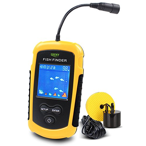 Lucky Fishfinder Fischfinder 100M / 328ft Portable Angeln Sonar Sensor Verkabelt LCD Tiefe Finder Echolot Test