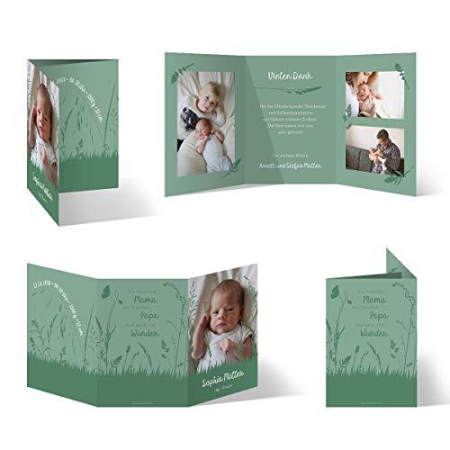 60 x Geburt Danksagungskarten Geburtskarten individuell mit Ihren Fotos und Texten als Klappkarte für Mädchen und Jungen - Wiesenkräuter