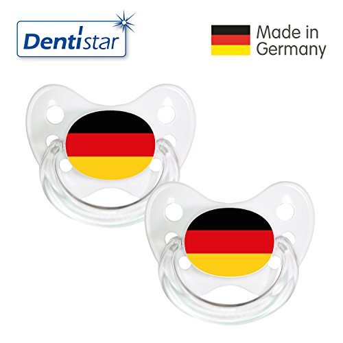 Preisvergleich Produktbild Dentistar® Silikon Schnuller 2er Set inkl. 2 Schutzkappen - Nuckel Größe 2, 6-14 Monate - Fussball Fan Kollektion – Deutschland Fahne, weiß