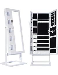 DXP Schmuckschrank Standspiegel Weiß Für Ketten Ringe Ohrringe 150 x 56 x 44 cm Schmuckkasten mit Fotorahmen Doppeltür JCYJ09