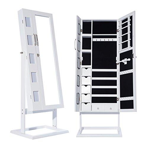 #DXP Schmuckschrank Standspiegel Weiß Für Ketten Ringe Ohrringe 150 x 56 x 44 cm Schmuckkasten mit Fotorahmen Doppeltür JCYJ09#