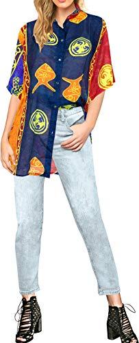 LA LEELA Blusen entspannt Hawaiihemd Urlaub Knopf unten Frauen mit kurzen Ärmeln blau XL -