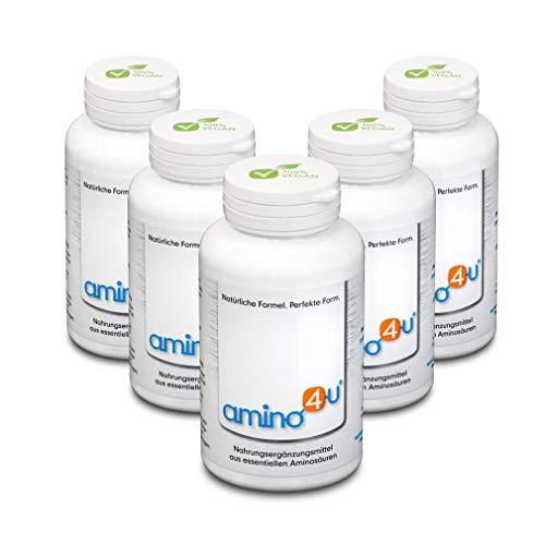 Amino4U Set Sparpaket alle 8 essentiellen Aminosäuren Muskelaufbau 5 x 120g Dose