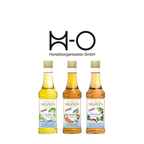 Set Monin Light 3x 250 ml Vanille,Haselnuss,Caramel, Das Set beinhaltet folgende Monin Sirup-0,25 l...