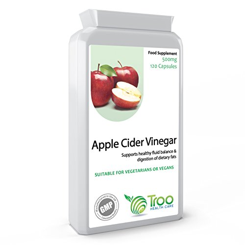 Apple Cider Vinegar 500mg 120 Capsules - Supports Healthy Blood Sugar and Cholesterol Balance - UK Manufactured GMP Guaranteed Quality Test