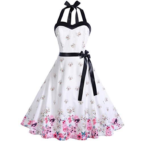 Kleid,Sasstaids Vintage Damen 50er Jahre Country Rock Stil Kleid hängen Hals ärmelloses Polka Print Kleid Cocktailkleid Faltenrock
