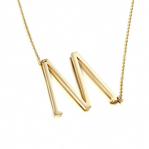 ILLISIO Edelstahl Halskette für Damen - Personalisierte Buchstabenkette mit Anhänger - M Gold