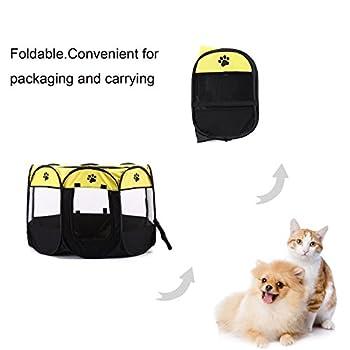 BWORPPY Chien Pet Playpen, Chien Pliable Tente, Résistant à l'eau, Abat-Jour Amovible Pen Kennel pour Chien, Chat, Chiot (Jaune)