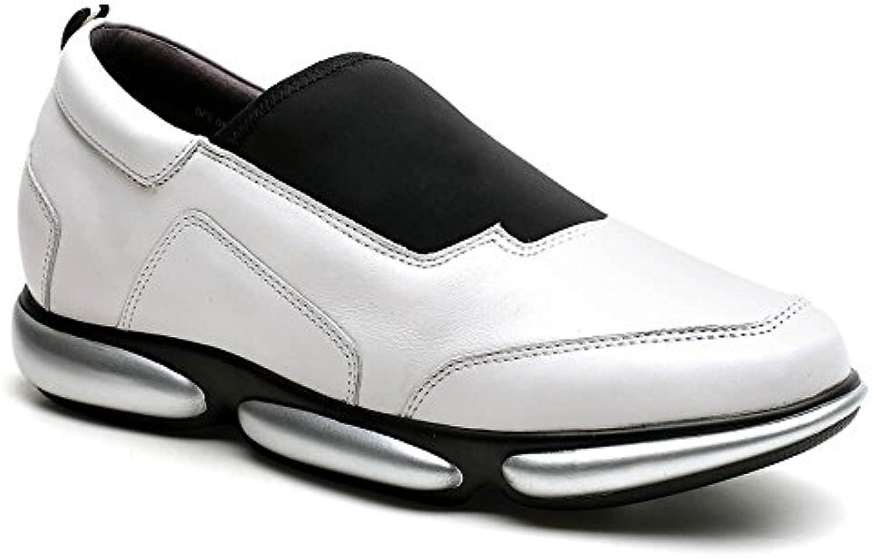 CHAMARIPA Aufzug Schuhe Männer Höhe Zunehmende Hebe Schuhe Weiß Schwarz Leder Schuhe Casual Sport Slip on Schuhe