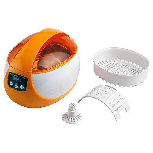 Washing Machine Ultraschallreiniger Reinigungsgerät Digital Ultrasonic Cleaner 750ml Mit Reinigungskorb Und Uhrenständer Für Elektronik Brillen Uhr Ring Diamant Retainer Prothese Sauber Fauay,Orange