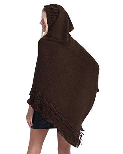 SUNNYME Poncho con cappuccio da donna con orlo a frange Cape Scialle lavorato a maglia con motivo a maglia Coffee