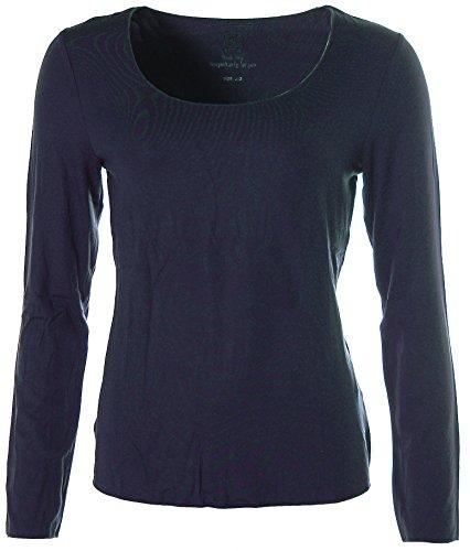 JETTE Damen Basic Langarm Shirt T-Shirt girocollo blu navy