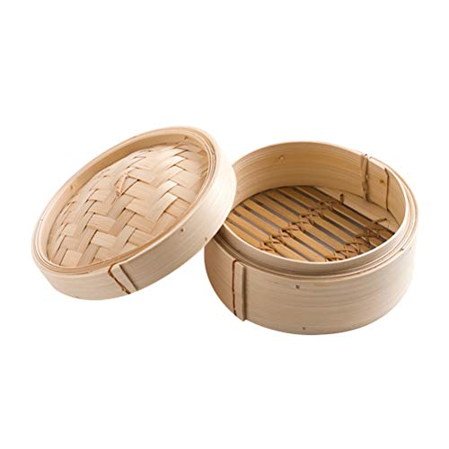 UPKOCH 2 Stücke 8 Zoll Chinesischen bambus dampfer dim sum korb herde kochen dampfer korb mit deckel für küche