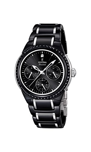 Festina Women's Quartz Watch with Black Dial Analogue Display and Black Ceramic Bracelet F16699/4