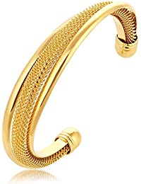 The Jewelbox Gold Mesh Cuff/Kada /Bracelet for Men Diwali Gift