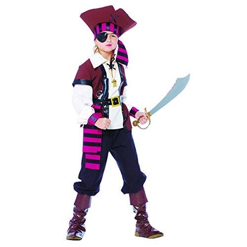 Guirca Jack Sparrow Kostüm Pirat der Sieben Mari, Mehrfarbig, Kinder 10/12 Jahre, ()