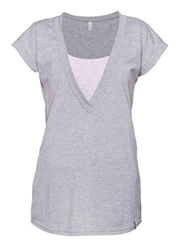 Be Mama! 2in1 Umstandsshirt, Stillshirt, hochwertige Baumwolle, Modell: FREE, lang- oder kurzärmlig! Grau