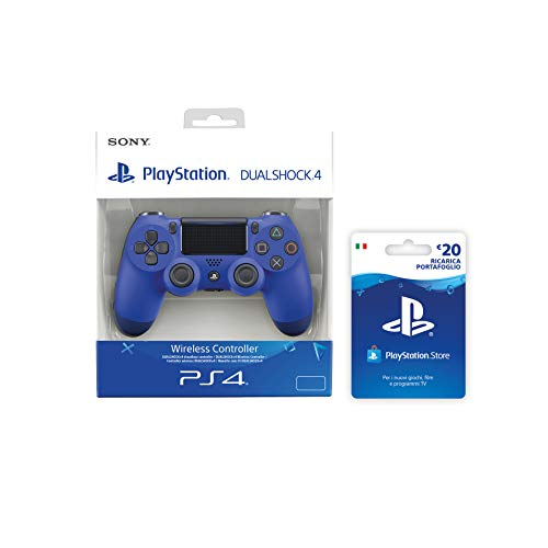 Foto PlayStation 4 - Dualshock 4 Controller Wireless V2, Blu + PSN Card 20 € [Esclusiva Amazon], Standard + Card