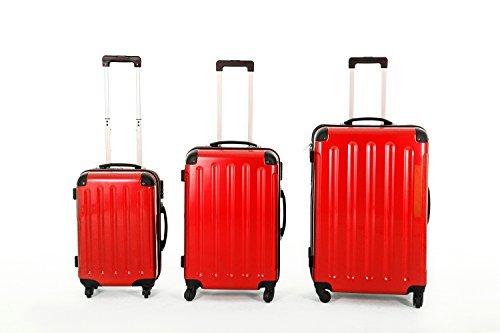 XAVION Kofferset aus Polycarbonat/ABS Trolley - Koffer, Reisekoffer, Rot