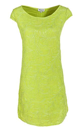 PEKIVESSA Damen Leinenkleid Häkel-Stickerei Sommerkleid Lindgrün 38 (Herstellergröße M) -