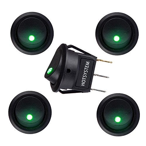 Interruptor HOTSYSTEM 12V 20A con piloto LED, redondo, para coches