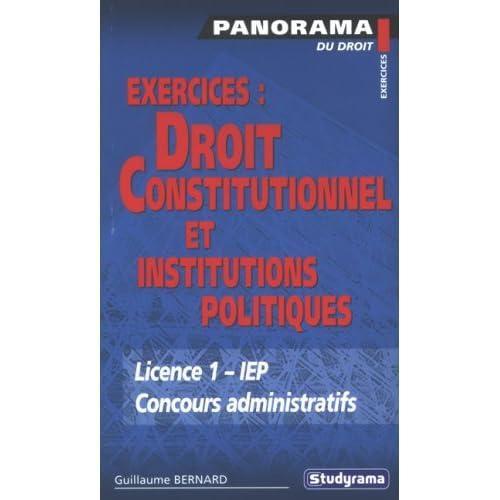 Exercices : Droit constitutionnel et institutions politiques