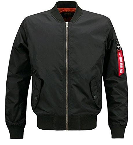 Brinny Herren Jacke Übergangs Bomberjacke Übergröße Zipper Fliegerjacke Militär Freizeitjacke Sportjacke Plus Size Outwear, Schwarz 8XL