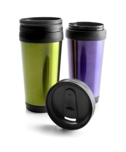 """Ibili 736200 - Bicchiere termico """"COFFE TO GO"""" 380 ml, colori assoriti (verde/viola)"""