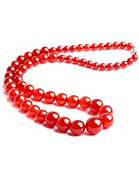 Collare perlas Joya piedra natural Ágata 6-14mm 45cm Mujer Rojo Rhe