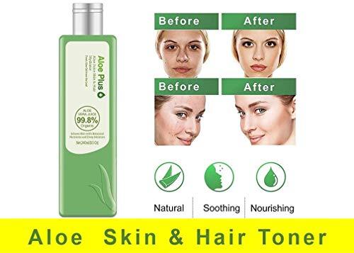 100% Aloe Vera Gel, Toner & Hydrator 99.8% PURER SAFT Aloe Pflanze | Gesichtsreiniger & Feuchtigeitsspender für Haut, Haare und Körper, 240 ml | Premium-Qualität | Aloe Plus von Secret Essentials - Aloe-vera-saft-flüssigkeit