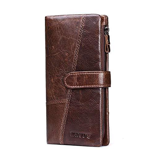 Anyeda Leder Damen Portemonnaie Bifold Slim Wallet Braun Rfid Geldbörse Klein 9.5x2x19CM