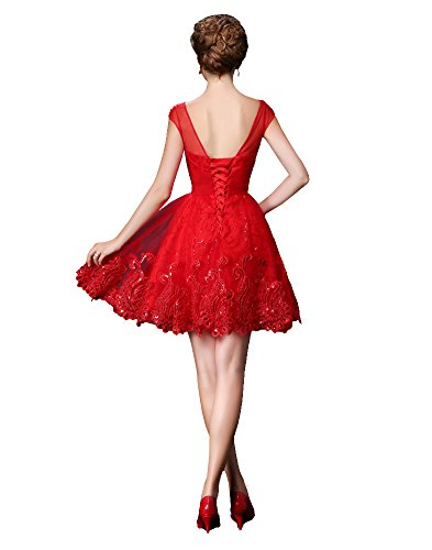 Beauty-Emily -  Vestito  - Sera  - Collo a U  - Maniche corte  - Donna Red