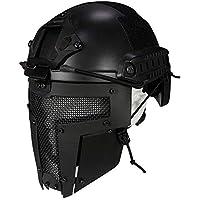 QZY Spartan Diseño Máscara Completa, Casco Rápido Táctico para Airsoft/Paintball / Pistola BB/CS Game/Caza / Disparos (Negro),Mask+Helmet