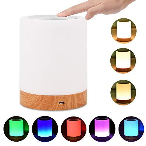 LED Nachttischlampe Akku Touch Sensor Tischlampe Kinder Nachtlicht aus Holz mit 256 RGB Farbwecksel, Warmweiß für Kinderzimmer-EINWEG -