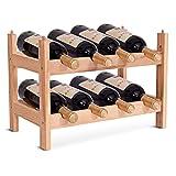 COSTWAY Botellero de Madera para 8 Botellas Vino Estante 2 Niveles para Hogar Fiesta